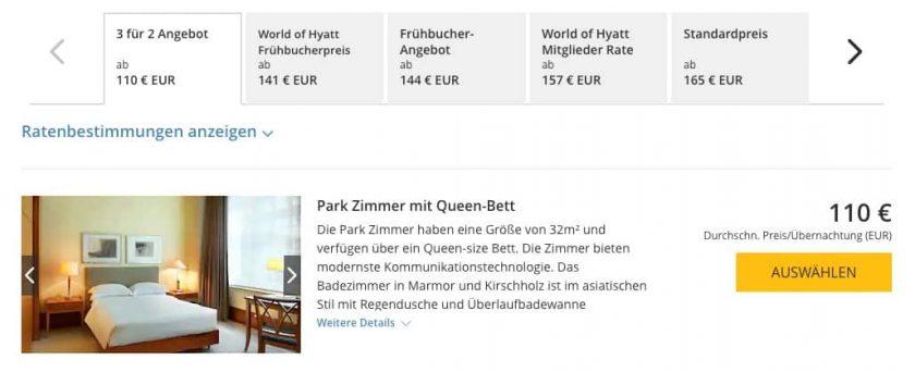 Park Hyatt 3 für 2 Angebot