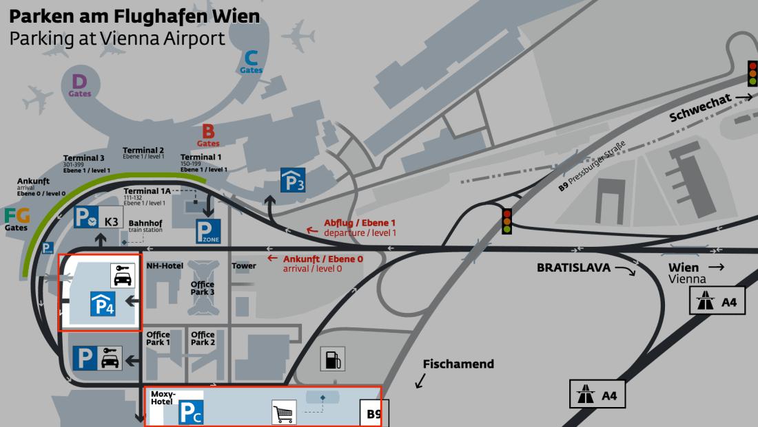 Parken am Flughafen Wien