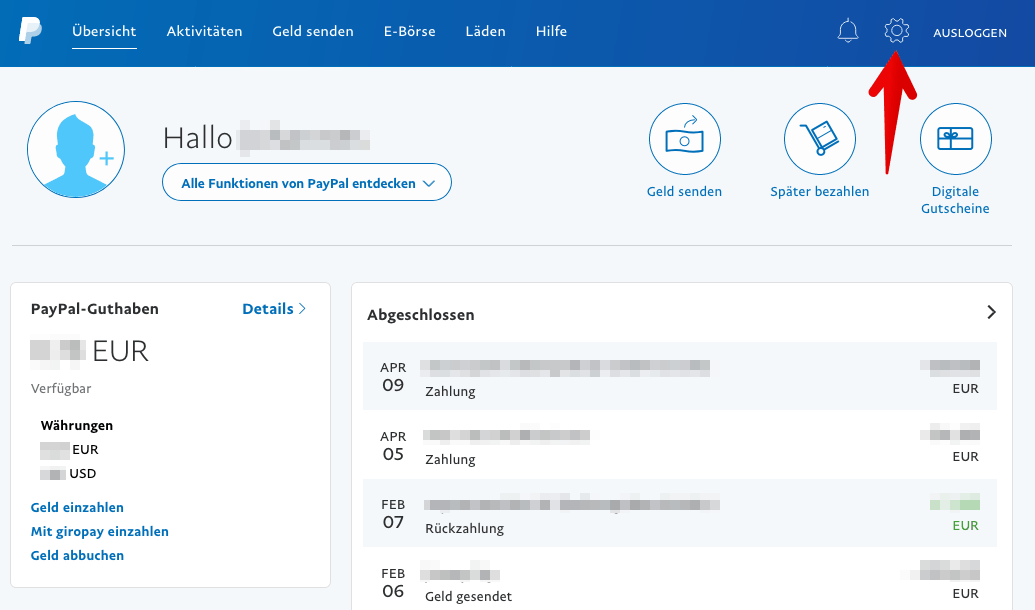 PayPal Account Einstellungen