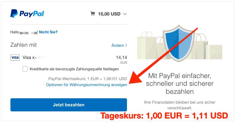 PayPal DCC deaktivieren