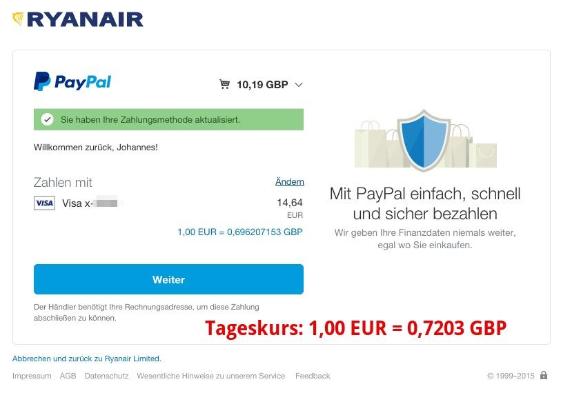 PayPal Ryanair DCC Kreditkarte