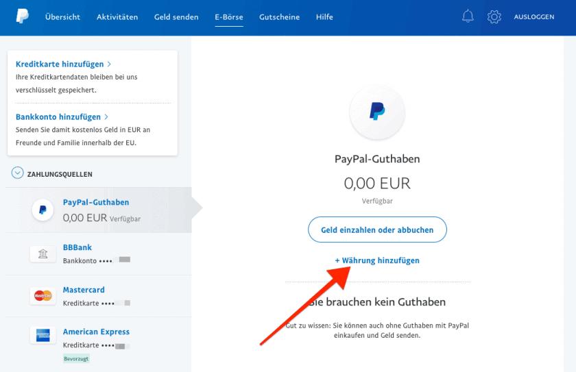 PayPal Währung hinzufuegen