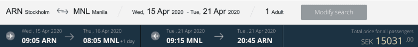 Qatar Airways ARN MNL