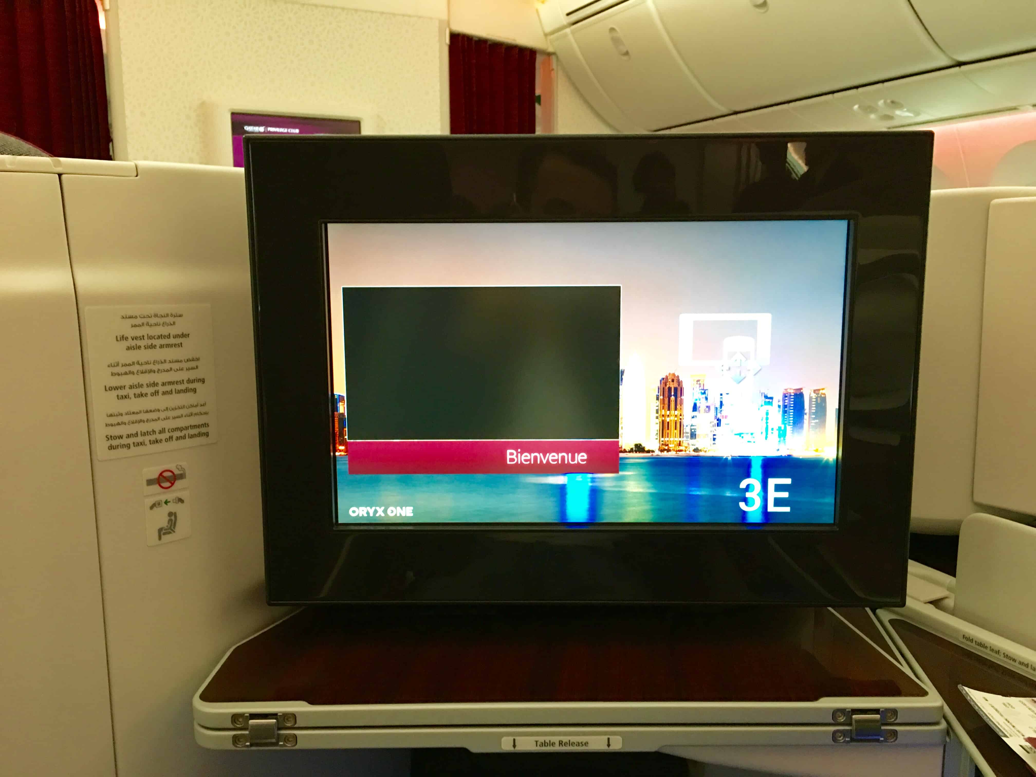 Qatar Airways Business Class IFE Welcome