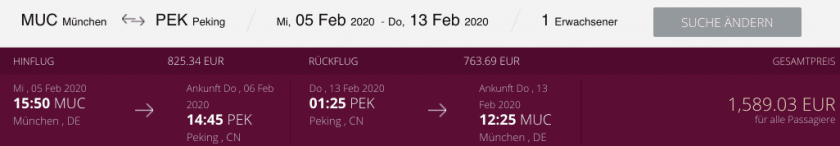 Qatar Airways MUC PEK