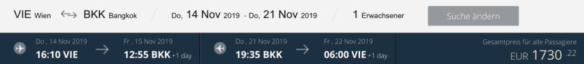 Qatar Airways VIE BKK