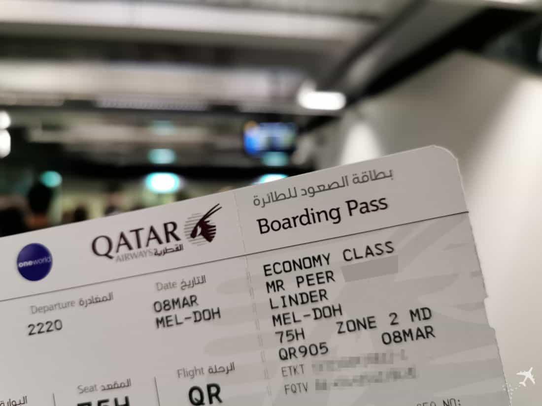 Qatar Eco Airbus A380 Boarding Pass