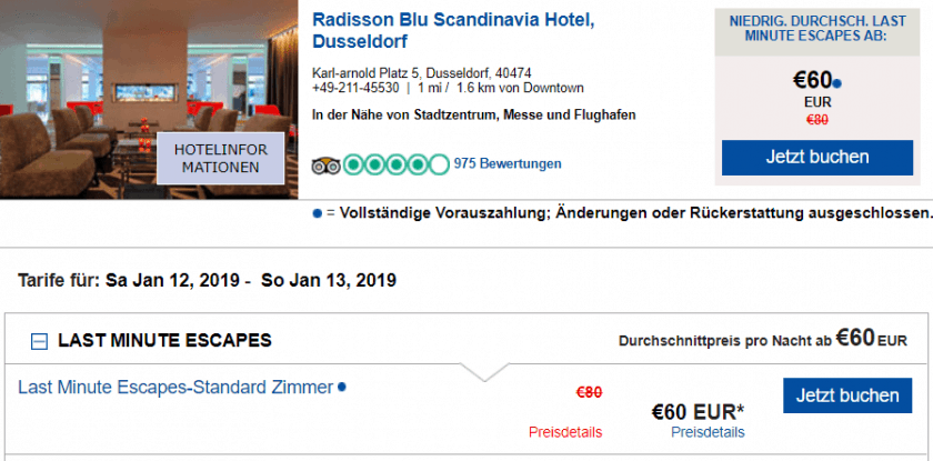 RAdisson düsseldorf 60€