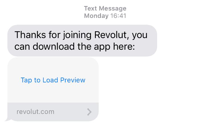 Revolut App Download SMS