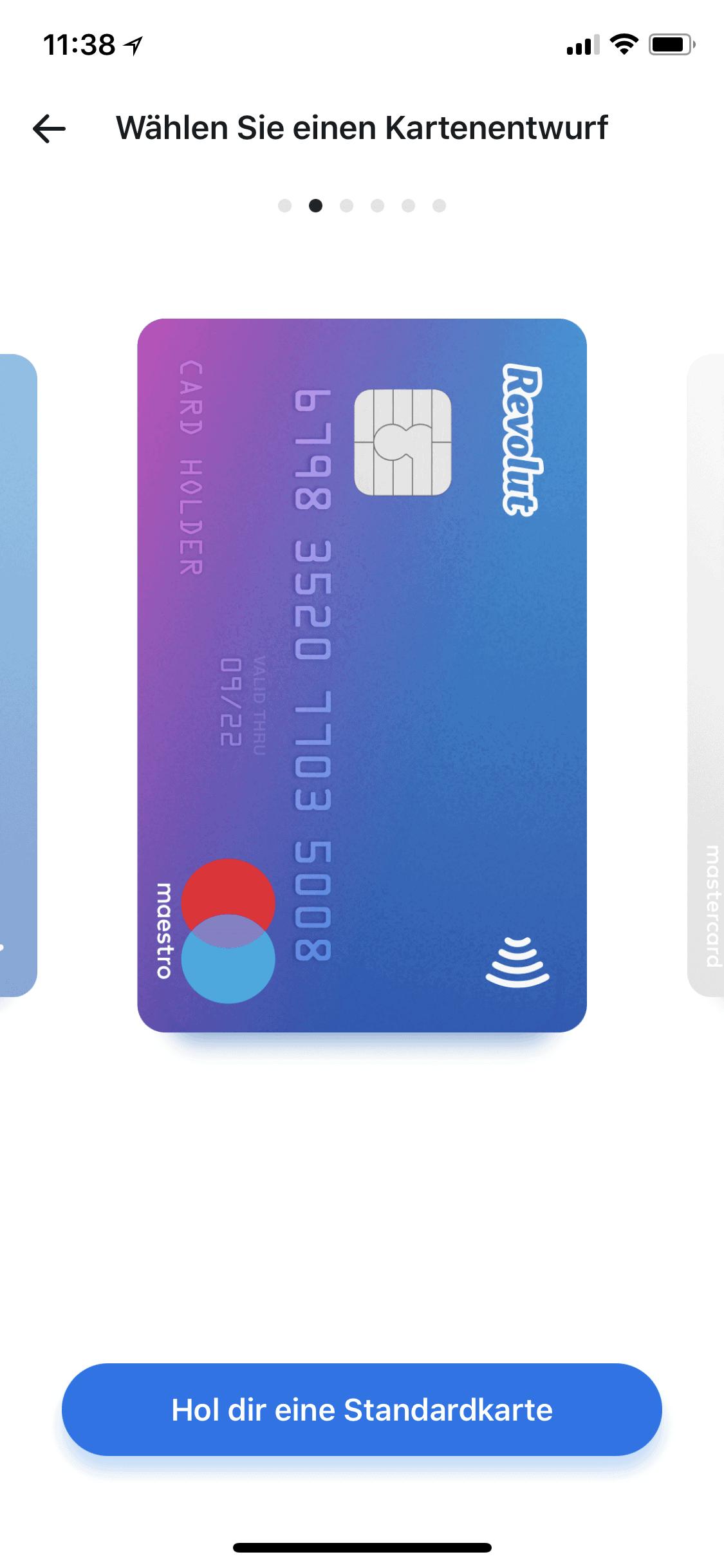 Revolut App Maestro Karte