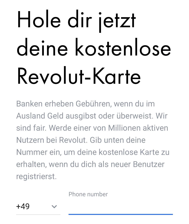 Revolut kostenlose Karte