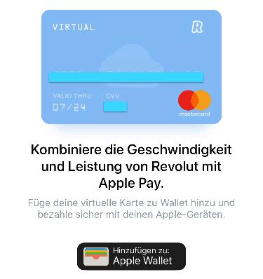 Revolut virtuel Mastercard Apple Wallet