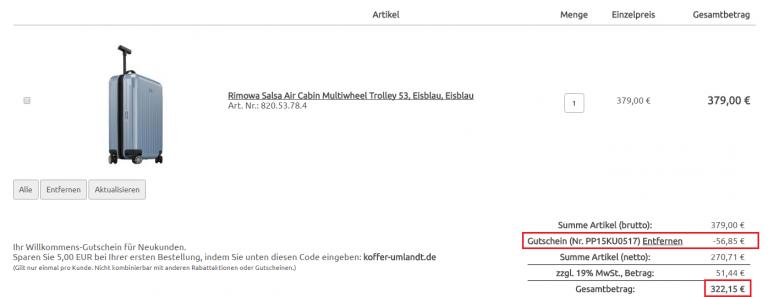 Rimowa Salsa Air Cabin Multiwheel Trolley Koffer-Umlandt Aktion