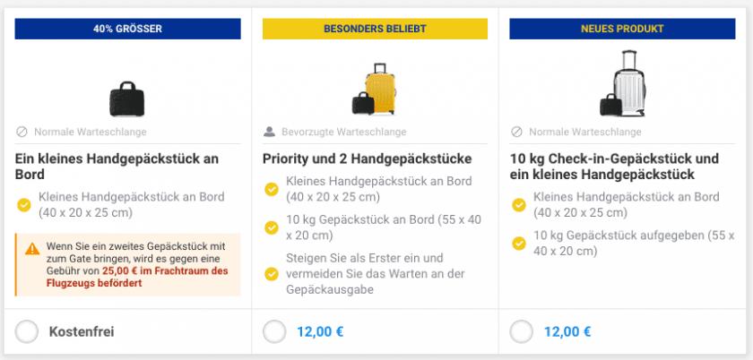 Ryanair 10kg Aufgabegepäck