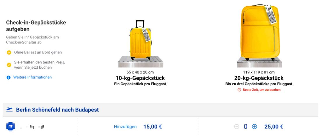 Ryanair Aufgabegepaeck Optionen 2020