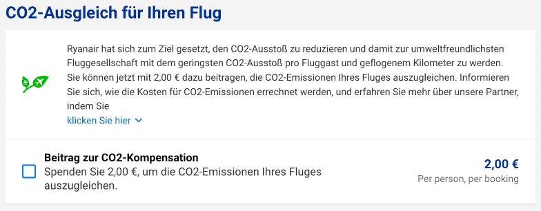 Ryanair Checkout 2020 CO2 Ausgleich