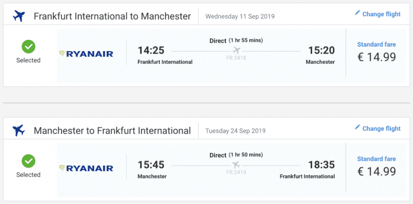 Ryanair FRA MAN