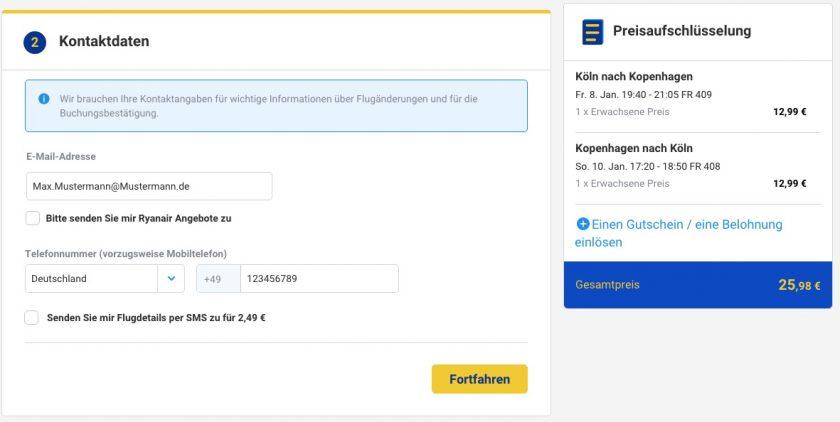 Ryanair Kontaktdaten