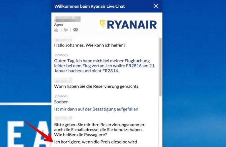 Ryanair Live Chat Umbuchung