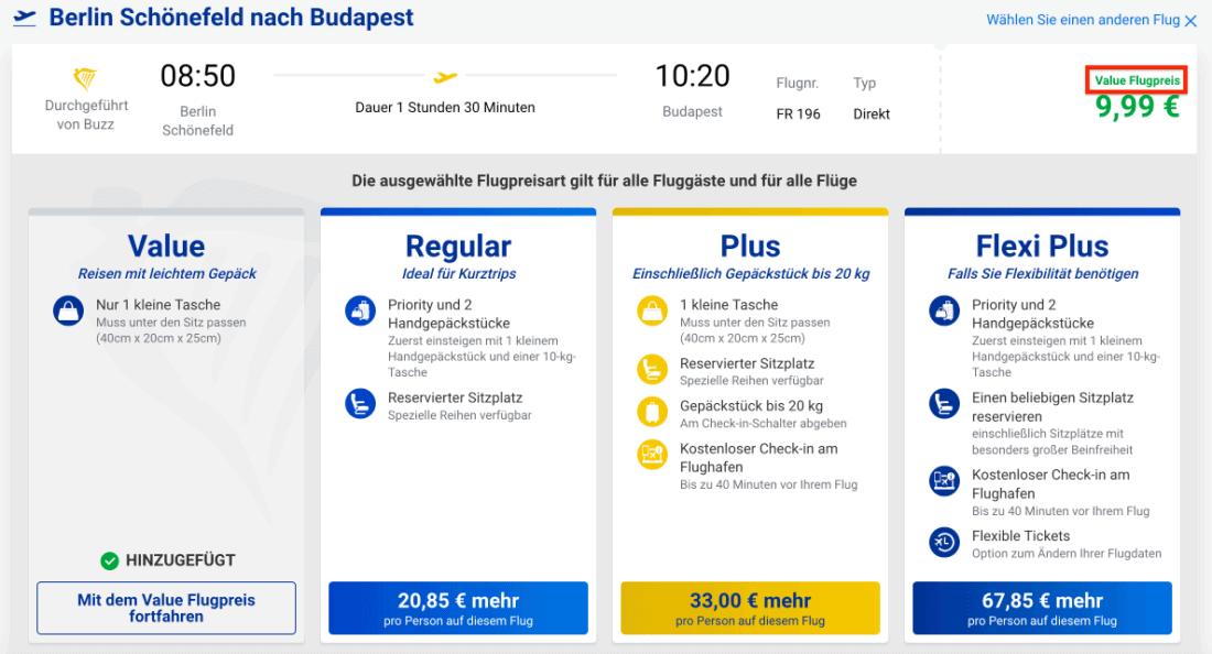 Ryanair Value Flugpreis in der Maske