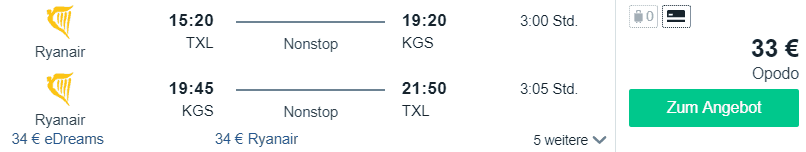 Ryanair berlin kos