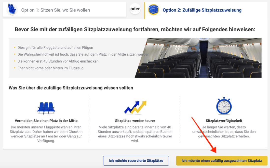 Ryanair zufaelliger Sitzplatz 2020