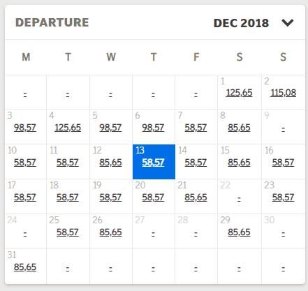 SAS Niedrigpreiskalender