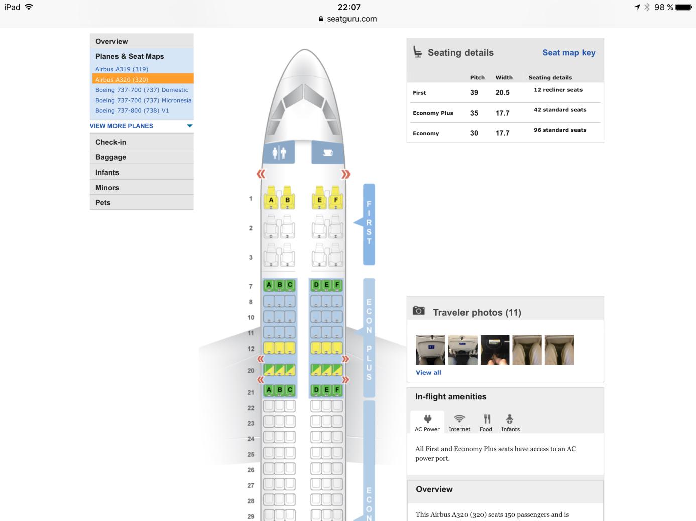 Seatguru United Airlines A320