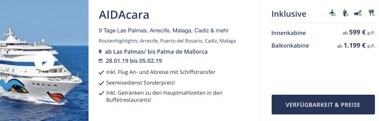 Seereisedienst AIDA Mittelmeer Kreuzfahrt