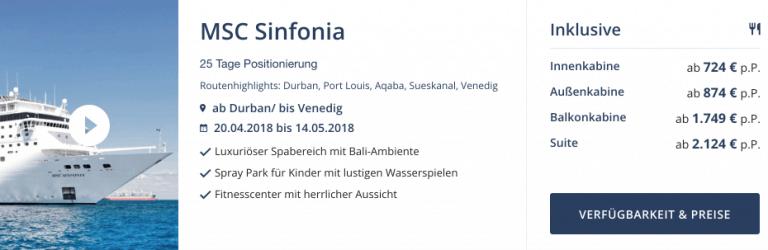 Seereisedienst MSC Sinfonia Angebot