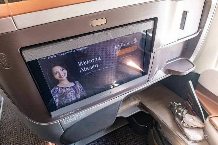 Singapore Airlines A350 Business Class Bildschirm