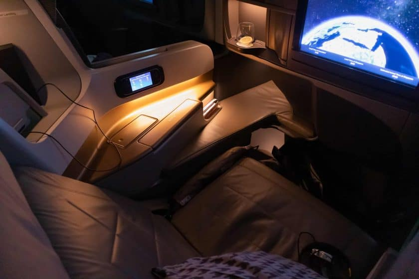 Singapore Airlines A350 Business Class Sitz Beleuchtung