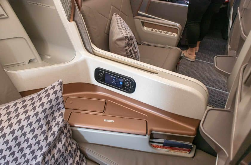 Singapore Airlines A350 Business Class Sitz Mitte Trennung
