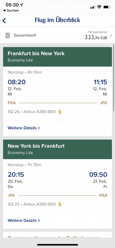 Singapore Airlines App FRA JFK