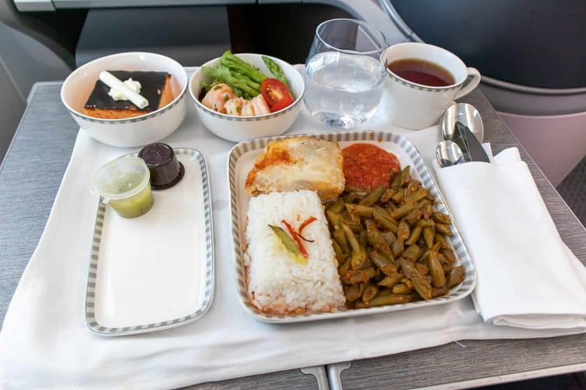 Singapore Airlines Boeing 787 10 Business Class Meal Fish