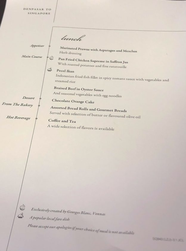 Singapore Airlines Boeing 787 10 Business Class Menu