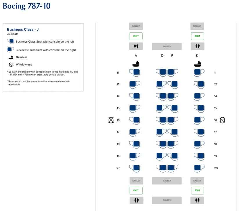 Singapore Airlines Boeing 787 10 Seatmap Business