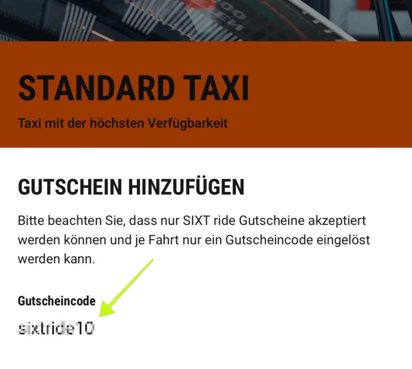 Sixt Ride Gutscheinfeld