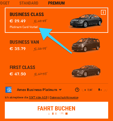 Sixt Ride Platinum Card Vorteil