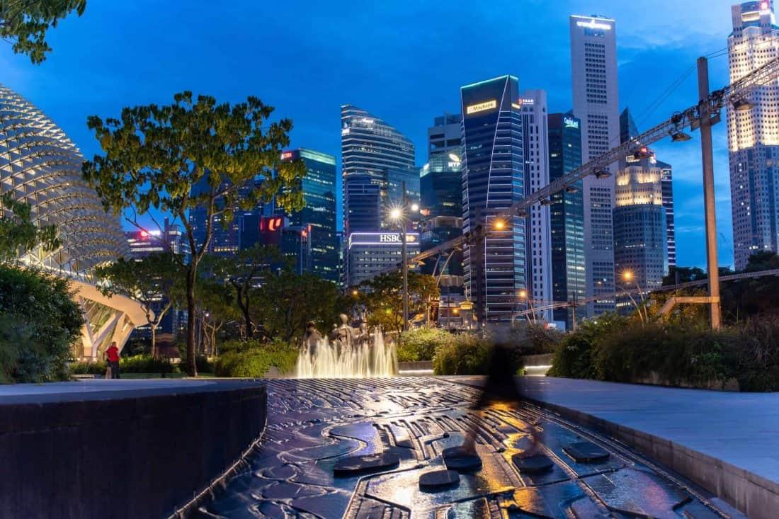 Skyline Wasserspiel Singapur