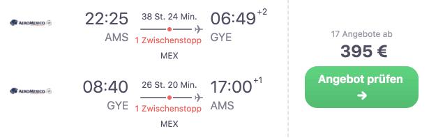 Skyscanner AMS GYE Aeromexico