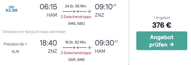 Skyscanner HAM ZNZ KLM