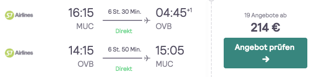 Skyscanner MUC OVB S7 Airlines