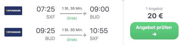 Skyscanner SXF BUD Ryanair