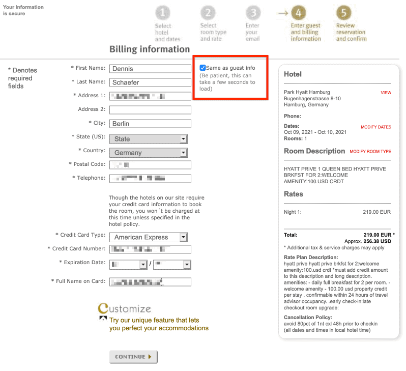 Step 4 How to book hyatt prive