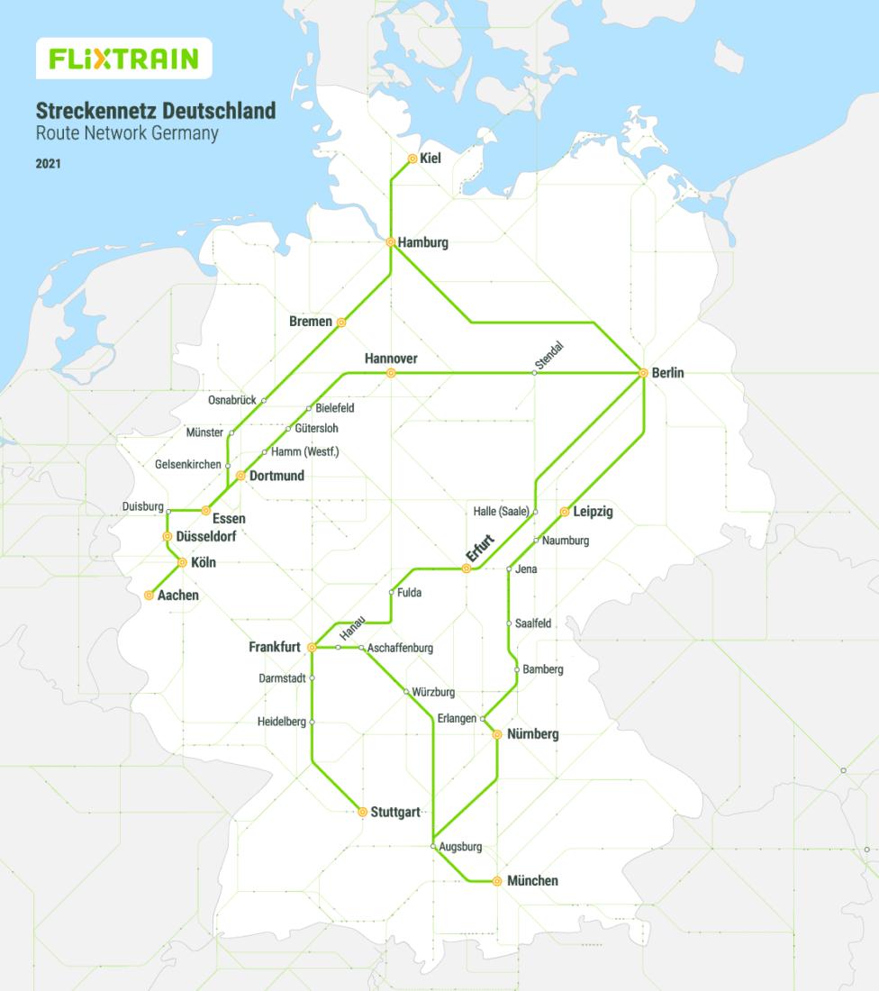 Streckennetz Flixtrain 2021