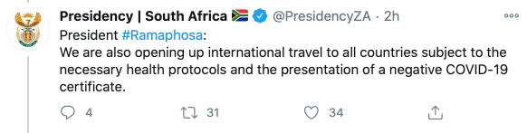 Südafrika Regierung Tweet
