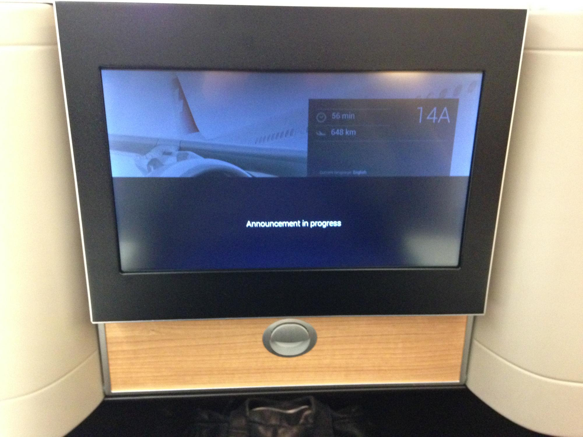Swiss Boeing 777 Business Class Bildschirm geschlossen