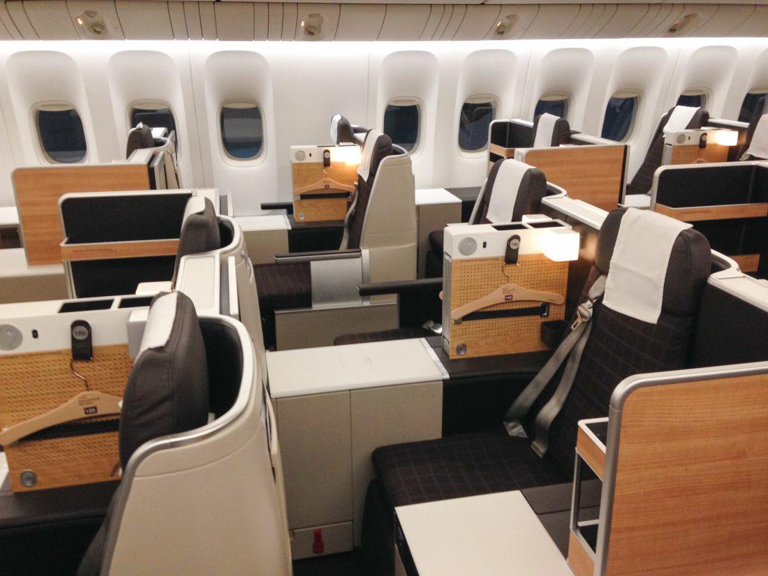 Swiss Boeing 777 Business Class Sitzplätze Mitte
