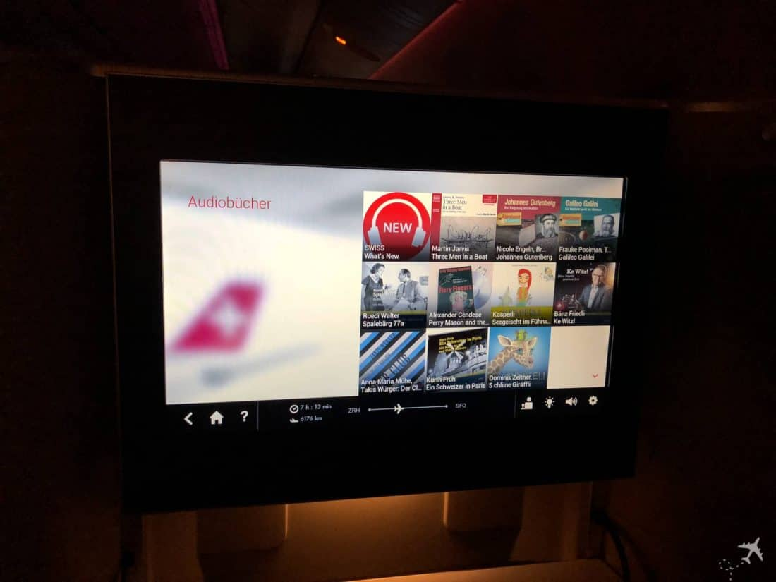 Swiss Boeing 777 Business Class IFE Audiobücher